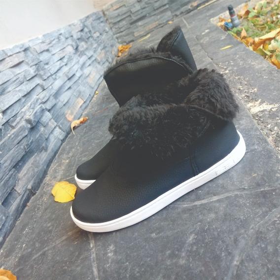 Botas Corderito Invierno Negro Pantubotas Caña Partida Dama