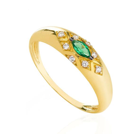 Anel De Ouro 18k Formatura Zircônia Verde Com Branca An34419