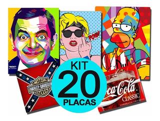 Kit 20 Placas Decorativas Retrô, Vintage, Pop + Variados
