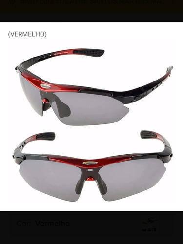Óculos De Ciclismo Vermelho