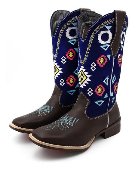 Bota Texana Feminina Cano Longo Bico Quadrado Top Barretos