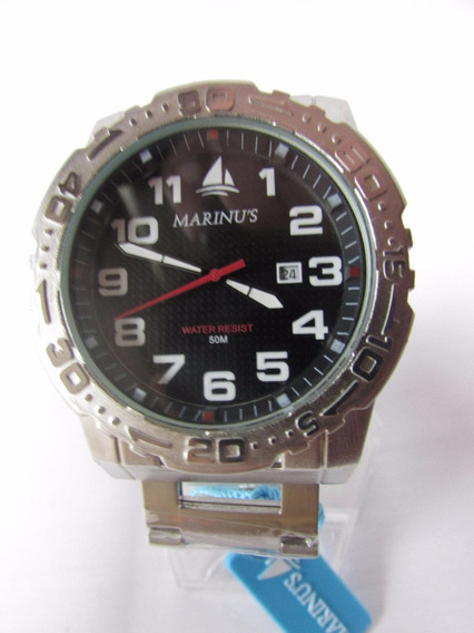 Relógio De Pulso Marinus Prata Catraca Fundo Preto + Nf