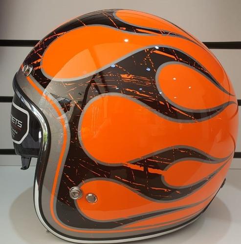 Imagen 1 de 3 de Casco Mt Helmets Le Mans Flaming Brilloso Naranja Y Negro