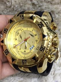 Relógio Masculino Dourado Pulseira De Borracha Grande Top