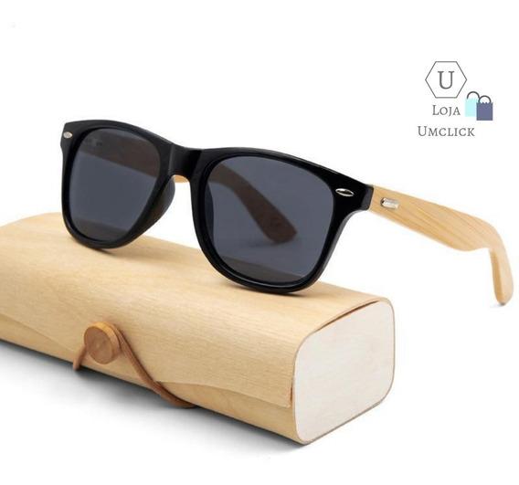 Óculos De Sol Reto Madeira Hastes Bambo Masculino Uv400 Pola