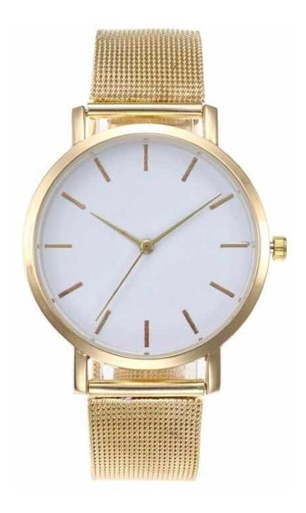 Relógio De Pulso Feminino Metal Dourado Lindo Grande Leve