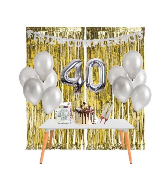 Kit Cumpleaños En Casa - Decoración Cumple Virtual - 40 Años