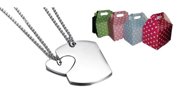 Collares Parejas Acero Inox Placa Identificación Corazón