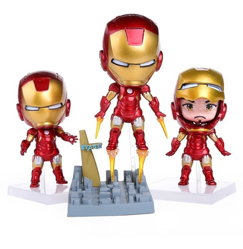 Figura Iron Man Set X 3 Con Base + Envio Gratis