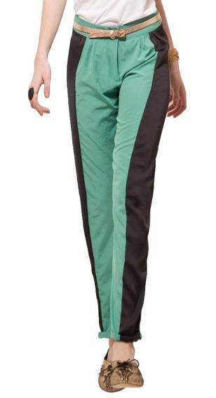 Pantalon De Seda Combinado Negro Y Verde. Nueva