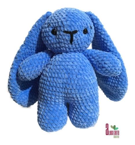 Amigurumi Conejo Azul Orejas Largas Tejido A Mano