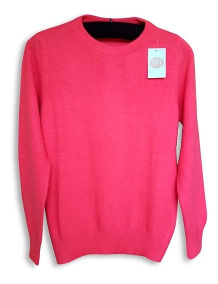 Sweater Pullover Bremer Dama Clásico Lana Merino Y Angora