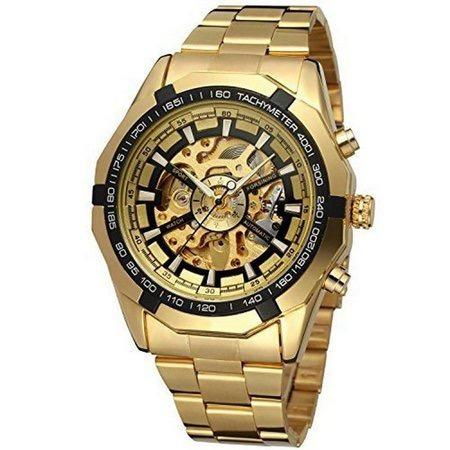 Relógio Winner Dourado Luxo Pronta Entrega + Brinde