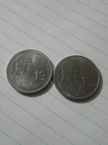 Imagen 1 de 1 de Dos Monedas De Jose M. Morelos De Los Años  1985 & 1986