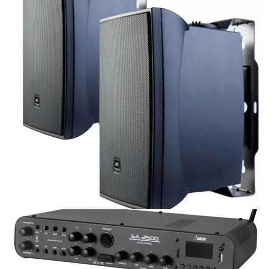Som Ambiente 2 Caixas Jbl C521 P + Amplif Bluetooth Sa2500