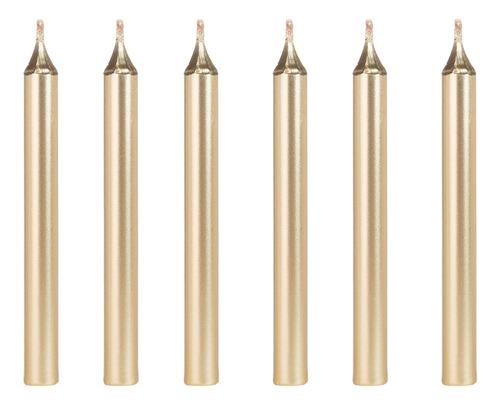 Imagem 1 de 1 de Vela Aniversário Palito Metalizada Dourada Com 12 Unidades
