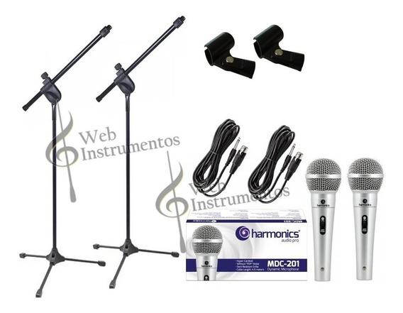 Kit 2 Microfone Profiss. Mdc201+ 2pedestal +cachimbos+cabos