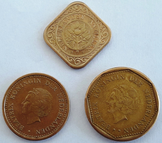 Antillas Holandesas Set De 3 Monedas Excelente Estado