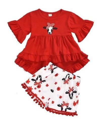 Set Conjunto Niña Blusa Y Short Rojo Con Blanco