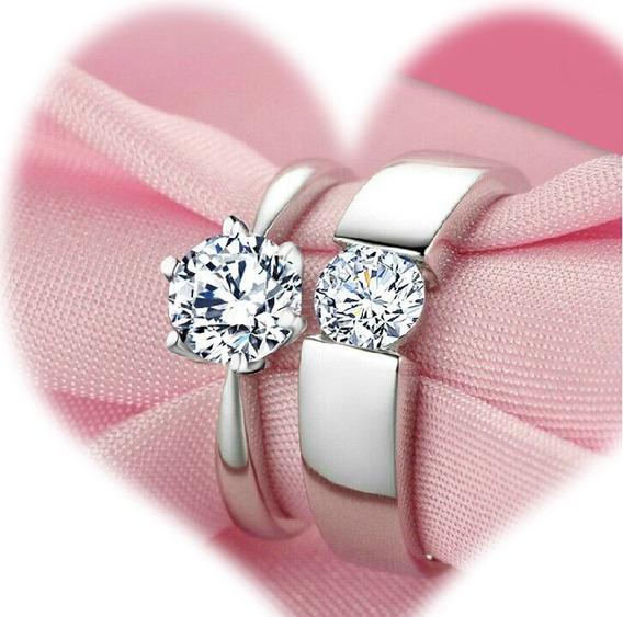 Par Anillos Plata 925 Promesa Amor Parejas Novios Regalo 14