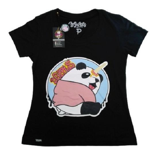 Camiseta Baby Look Panda Fun Preta