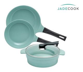 Jade Cook Batería De Cocina Cocinar Sin Grasa 4 Pzs Nueva