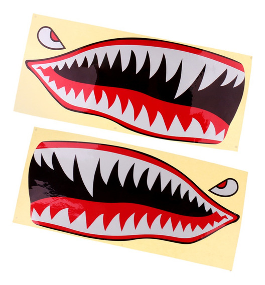 2 Pcs Boca Tubarão Teeth Vinil Adesivo Carro Decal Barco Ca