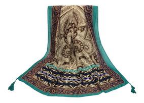 Canga Mosaico Com Mandalas Verde E Marrom