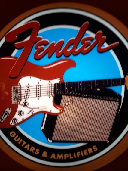 Luminoso Decorativo Guitarra Fender Studio Musica Bar Boteco