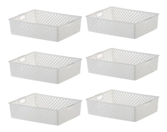 Kit De 6 Cestos Vazados Quadratta Branco 889 34x27x9cm