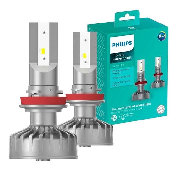 Par Lâmpada Philips Led Fog Ultinon 6200k H8 H11 H16 160%