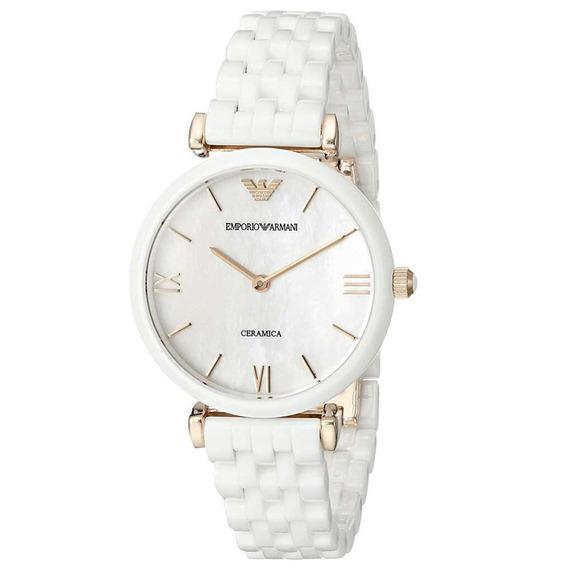 Reloj Analógico Marca Armani Modelo: Ar1486 Color Blanco Par