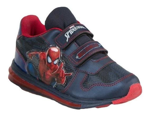 Tenis Spiderman Niño Con Luz Sin Agujetas Azul Comodo 2722
