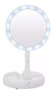 Espejo Con Luz Led Para Maquillaje Plegable + Aumento X 10