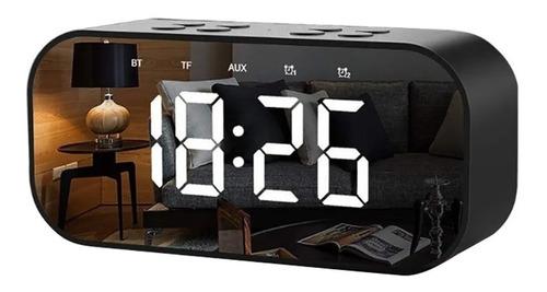 Imagen 1 de 9 de Reloj Despertador Digital Bocina Bluetooth Negro