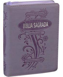 Bíblia Sagrada Letra Grande Violeta Com Zíper E Índice