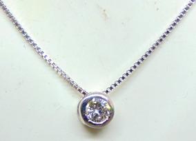 Ponto De Luz C 42cm E Diamante De 20 Pontos Em Ouro 18k