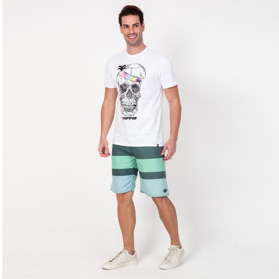 Camisa Casual Masculina T-shirt Caveira Branca Vonpiper