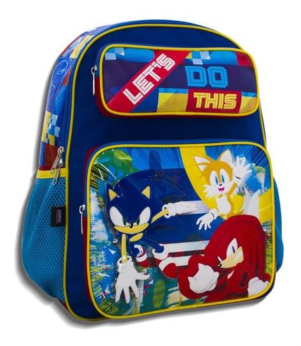 Imagen 1 de 8 de Mochila Escolar Infantil Sonic Triple Compartimiento Amplia
