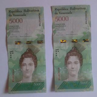Billetes De 5000 Bolivares Coleccionables Serie Consecutiva
