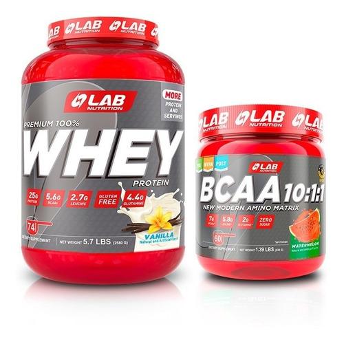 1 Proteina Premium Whey Lab 5.6lb + 1 Amino Bcaa 10:1:1 Lab.