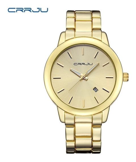 Relógio Feminino Dourado Crrju + Brinde