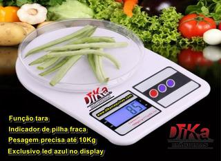 Balança Led Azul Digital Eletônica De Cozinha 10kg Sem Pilha