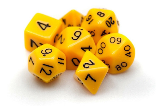 Cj. 7 Dados Rpg Dungeons & Dragons D4 D6 D8 D10 D12 D20 D10%