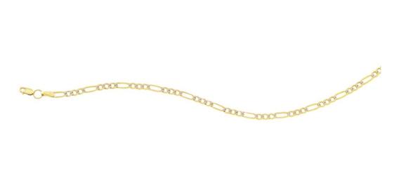 Pulsera 3x1 Plana Rodio 080 18cm Oro 10k - 709