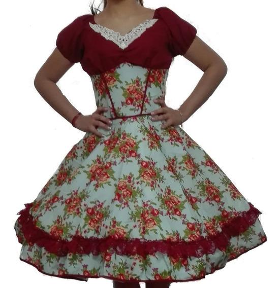 Vestido De Huasa Mas Falso De Competencia Con Pechera 9 Rued