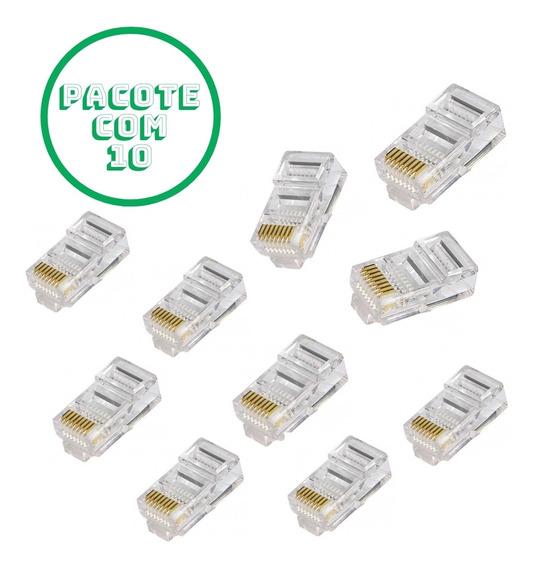 Pacote Com 10 Conector Modular Rj-45 8p8c Cat 5e 21 1 107