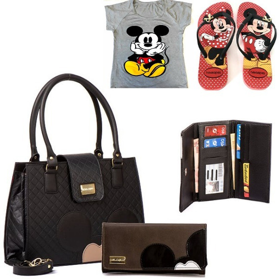 Kit Bolsa Femininas Carteira Chinelo Camiseta Mickey Pra Ela