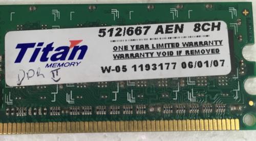 Memoria Ram Ddr2 512 Mb 533 - Titan