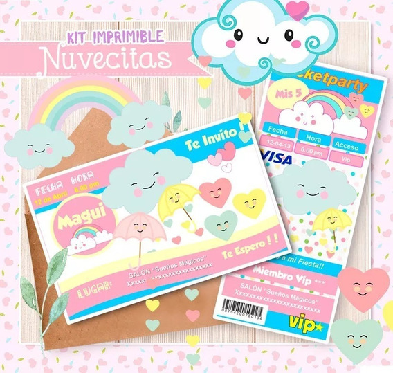 Kit Imprimible Nuvecitas Arcoiris - Chuva De Amor